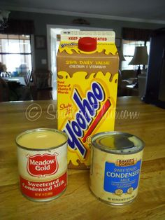 YooHoo Ice Cream ( 2 versions) -  64 ounces Yoohoo (can use 1/2 gallon chocolate milk instead) 2-14 ounce cans Sweetened Condensed Milk OR  8 cans of Yoo-hoo 2 cans (14oz) Sweetened Condensed Milk (eagle brand) 1 can of evaporated milk.