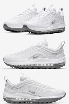 If Nike's recent experiments are any indicator, sneakers and golf are slowly becoming more and more intertwined, as the sport's signature athletes are hitting the green in a variety of classic releases. We've seen the Air Jordan 5 refitted for the fields as well as a round of Swarovski encrusted classics, and now we're soon to see the Air Max 97 in its retooled state in a new colorway. Air Max 97, Nike Air Max, Air Max Sneakers, Sneakers Nike, S Signature, Jordan 5, New Trends, Athletes, Fields