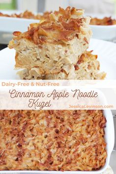 This dairy-free, nut-free cinnamon apple noodle kugel is a sweet and comforting side dish traditionally served on Rosh Hashana and other Jewish holidays. Get the recipe at JessicaLevinson.com | #RoshHashana #JewishFood #noodlekugel Jewish Kugel Recipe, Apple Kugel Recipe, Sweet Noodle Kugel Recipe, Apple Recipes, Holiday Recipes, Dairy Free Recipes, Real Food Recipes, Snack Recipes, Cooking Recipes