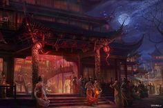 Chinese Buildings, Chinese Architecture, Chinese Landscape, Fantasy Landscape, Fantasy Island, Fantasy Castle, Fantasy Places, Illustration, China Art