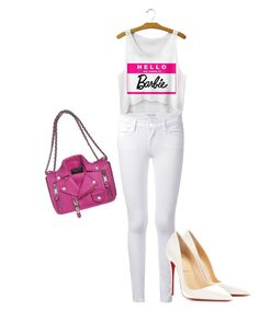 """""""Hello, my name is Barbie - Style By Sheena"""" by stylebysheena on Polyvore featuring Frame Denim, Christian Louboutin and Moschino"""