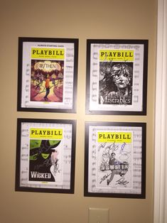 Playbill display- LOVE the idea of matting them over a piece of music from the show!