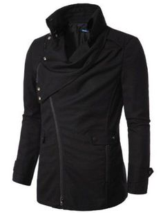 Liked on Pinterest: Amazon.com: Doublju Mens Jacket with Asymmetry Zipper: Clothing