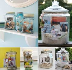 Find a medium sized jar with a lid you can use a old candle jar or even a cookie jar Place sand and a few seashells. Add pictures and other ...