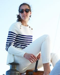 New England Classic Style | White and navy stripe jumper | Nautical style