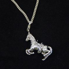 Silver horse necklace, horse standing on 2 legs