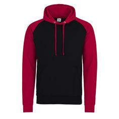Just Hoods JH009 Jet Black and Fire Red Baseball Hoodie - £15.75