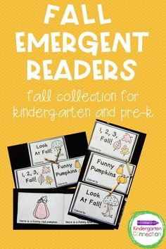 """Fall themed emergent reader books come 3 to a pack, each with a Fall theme! Great for classroom books, guided reading groups, at home practice, and more! Book titles are """"Look at Fall!"""", """"1,2,3, Fall!"""" and """"Funny Pumpkins"""".These readers contain predictive text patterns to support early readers, as well as sight words, number, and color words! Easy assembly! A great Kindergarten learning activity for reading. #learningactivities #backtoschool #kindergarten #prek #preschool #kinder"""