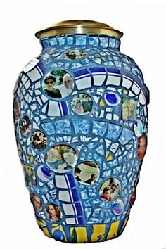 Cremation urn, photos incorporated into the mosaic