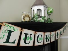 st patricks day decoration Luck of the Irish banner, sign, swag, garland by bekahjennings on Etsy https://www.etsy.com/listing/90461226/st-patricks-day-decoration-luck-of-the