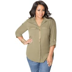 0aa82ec969b26 Ashley Stewart Zip Pocket Crepe Blouse ( 37) ❤ liked on Polyvore Plus Size  Women s