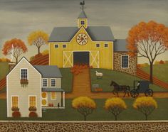 Yellow Barn Print By Mary Charles