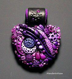 Purple Enchanted Garden Pendant | polymer clay pendant by Chris Kapono of Mandarin Moon.