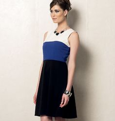 """Vogue 8944, match for French Connection """"Christmas Carlotta"""" Black & Fuchsia Pink Colorblock Dress (with slim cut skirt)"""