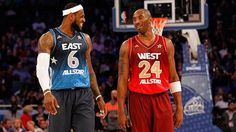 The fan votes have been counted and the numbers are official—the starting lineups have been set for the 2013 NBA All-Star Game in Houston, Texas! The league opted to broadcast the All-Star starters via TNT's NBA Tip-Off show at 7 p. Kobe Bryant Lebron James, Kobe Lebron, Lakers Kobe Bryant, All Star, I Love Basketball, Basketball Players, All Nba Teams, Sports Teams, Nike Inspiration
