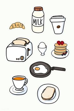 Food Stickers, Kawaii Stickers, Journal Stickers, Cute Stickers, Image Stickers, Free Printable Stickers, Cute Food Drawings, Cute Kawaii Drawings, Mini Drawings