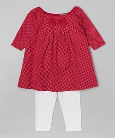 Look what I found on #zulily! Red Polka Dot Boatneck Dress & Leggings - Infant & Toddler #zulilyfinds