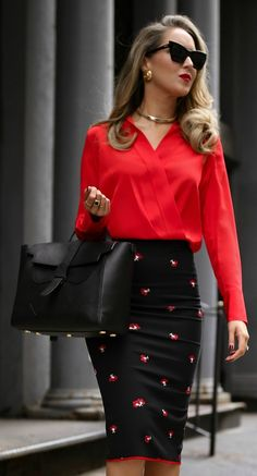 My favorite work and travel bag // Red silk wrap blouse, black work-appropriate pencil skirt with floral embellished, suede mary jane black pumps, black cat-eye sunglasses, gold chocker, black work bag {Victoria Beckham, gucci, saint laurent, le specs, senreve, best work bag, cute laptop bag, chic travel bag, carry-all purse, office attire, fashion blogger, nyc}