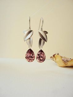 Vintage Pink Earrings Statement Earrings Silver Leaves