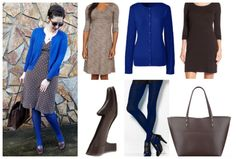 Librarian for Life + Style   Brown with pops of blue outfit collage