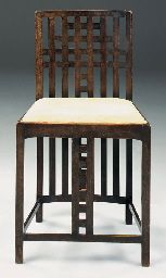 Ebonised Sycamore Side Chair  DESIGNED BY CHARLES RENNIE MACKINTOSH FOR THE WHITE BEDROOM, HOUS'HILL, NITSHILL, GLASGOW, 1904