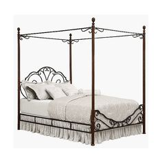 Bed: Inspire Q Sereno Metal Canopy Bed, Brown ($550) ❤ liked on Polyvore featuring home, furniture, beds, brown, inspire q beds, brown furniture, metal canopy bed frame, metal headboards and metal head boards
