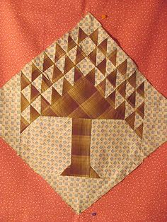 "Antique Vintage Orphan Pine Tree 13 5""Sq Quilt Block Hand PC'D c1890 Brown Tan 