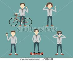 Young man with bike, coffee, headphone, camera, electric scooter. Hipster cartoon character lifestyle set. Vector illustration flat design