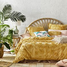 Home Republic - Nirvana Tuscan Sun Quilt Cover Mustard Bedding, Linen Bedding, Bed Linens, Adairs Bedding, White Quilt Bedding, Mustard Bedroom, Coverlet Bedding, Linen Bedroom, Hotel Bedroom Design