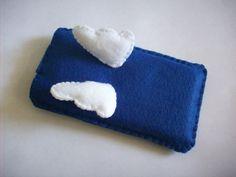 Cute Angel Wings Blue Felt iPhone 4/4S/5 Case by LittleWoolShop, $7.80