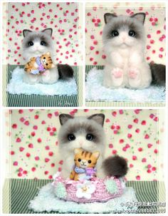 Needle felted cat and little cat doll.  CUTE!