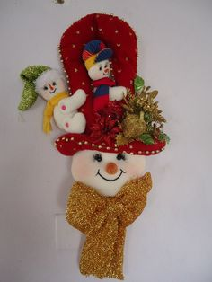 n Felt Christmas Ornaments, Christmas Decorations, Holiday Decor, Snowman, Man Faces, Pattern, Crafts, Christmas Ornaments, Feltro