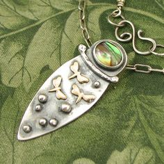 """Tiny Dragonflies Moths """"Fly Free"""" Pendant -  Sterling with Abalone Shell - Mixed Metals - OOAK by marybird on Etsy"""
