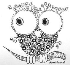 Owls in Zentangle Land don't hoot. Instead, they sing melancholy rock ballads. Feed them some Warped Eggs (if you don't know what Warped Eggs are, you can look for them in my photostream! ) and they will even do requests. Anything but Gaga. I have no idea why. ^O^