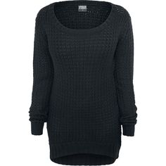 Gebreide truien zien er niet alleen goed uit, ze houden je ook nog eens goed warm. De zwarte Ladies Long Wideneck Sweater is daar een goed voorbeeld van. De lange trui van Urban Classics maakt indruk en heeft een lengte van 80 cm.