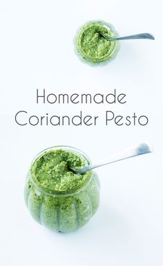 Easy and quick homemade coriander/cilantro pesto. Perfect addition to any lunch or even to make as a easy DIY gift.