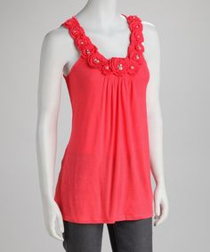 Look at this Simply Irresistible Coral Rosette Tank on #zulily today!
