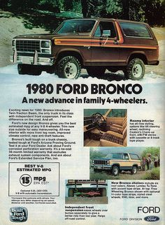 Vintage Automobile Advertising: 1980 Ford Bronco, From Car and Driver Magazine, July 1980.
