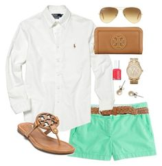 """""""Mint"""" by classically-preppy ❤ liked on Polyvore featuring J.Crew, Dorothy Perkins, Polo Ralph Lauren, Tory Burch, Essie, Ray-Ban and Michael Kors"""
