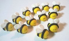 Items similar to Fondant Bee Cupcake Toppers - 12 Bee on Etsy Beehive Cupcakes, Bee Cupcakes, Fondant Bee, Fondant Cupcake Toppers, Spiderman Birthday Cake, 3rd Birthday Cakes, Baby Christening Cakes, Bumble Bee Cake, Brownie Badges