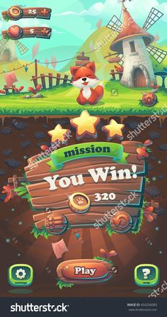 Feed The Fox Gui - Cartoon Stylized Vector Illustration Mobile Format You Win Mission Window With Fox. - 454256083 : Shutterstock
