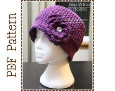 Crochet Flower Hat Pattern Ribbed Beanie door EmieGraceCreations