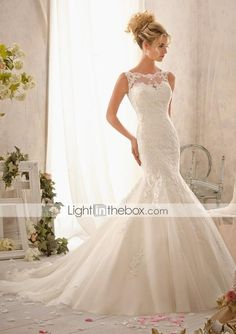 Vestido de Noiva Sereia Borda Ondulada Comprido ( Tule ) - USD $ 299.99