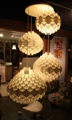 plastic formed chandeliers design - Google Search Atrium, Chandeliers, Parks, Shades, Plastic, Ceiling Lights, Lighting, Google Search, City