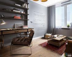Эта комната должна стать местом уединения, работы и отдыха главы семейства. Стены кабинета графитного цвета с магнитно-маркерным покрытием, чтобы можно было на них писать и чертить всякие графики.
