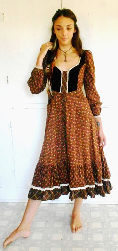 Vntg 70s Gunne sax dress brown calico floral by TheWhimsicalFox, $85.00