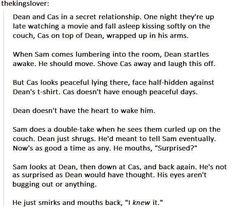 """Sam would then tease Dean for a week and tell Cas embarrassing stuff about Dean like """"He loves hugs like 24/7"""""""