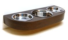Wall mounted pet feeder for cats Wenge by vurvdesign on Etsy