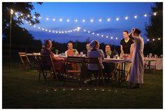 backyard garden party/ strung lights outside/