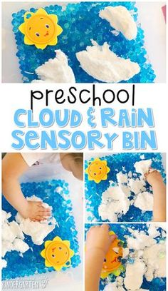 We LOVE this cloud and rain sensory bin using ivory soap and water beads. Perfect for a weather theme in tot school, preschool, or even kindergarten!